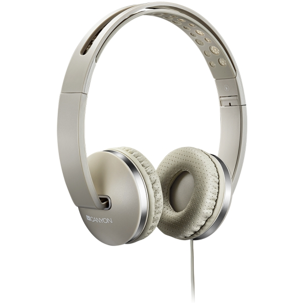 CANYON Stereo headphone with microphone and switch of answer/end phone call, cable 1.2M, Beige 0