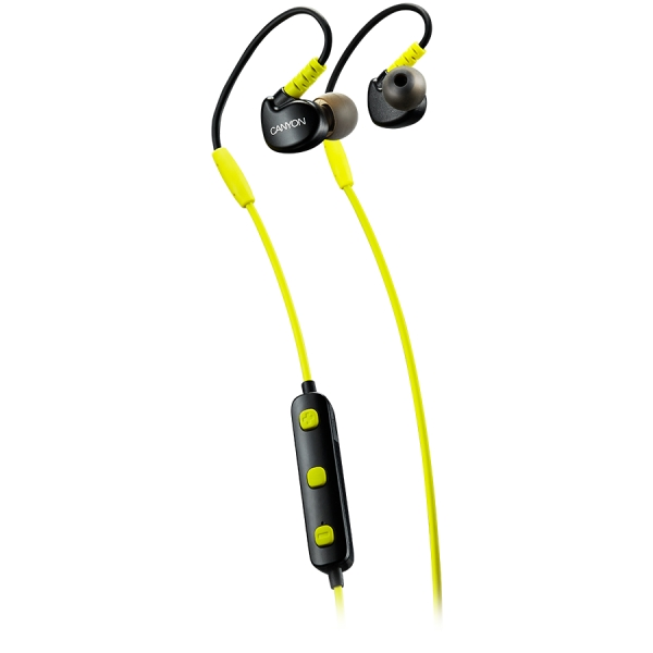 Canyon Bluetooth sport earphones with microphone, 0.3m cable, lime 0