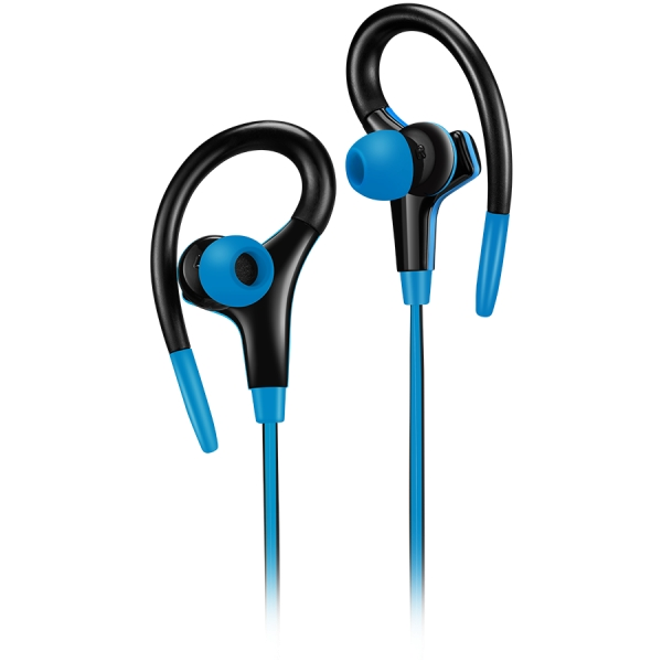Canyon stereo sport earphones with microphone, 1.2m flat cable, blue 0