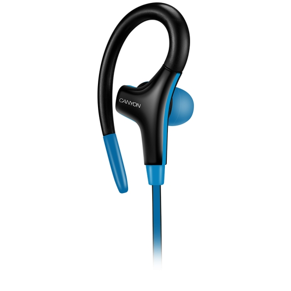 Canyon stereo sport earphones with microphone, 1.2m flat cable, blue 3
