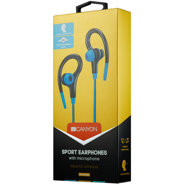 Canyon stereo sport earphones with microphone, 1.2m flat cable, blue 1