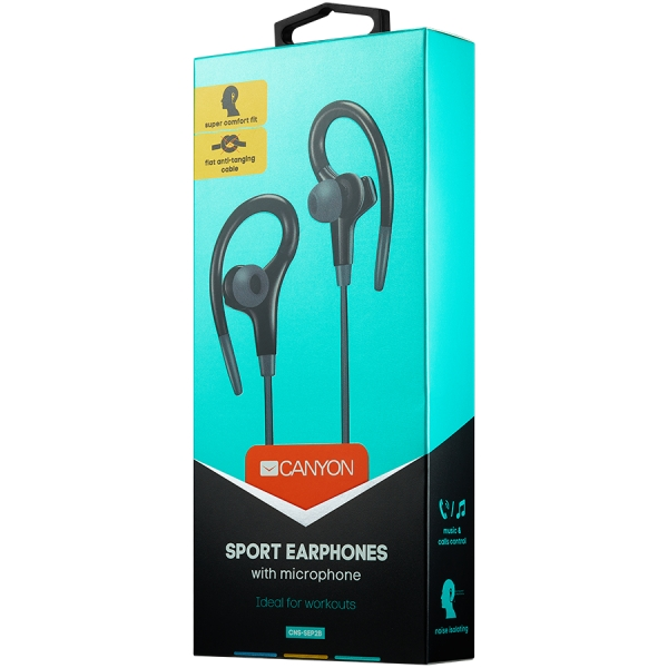 Canyon stereo sport earphones with microphone, 1.2m flat cable, black 1