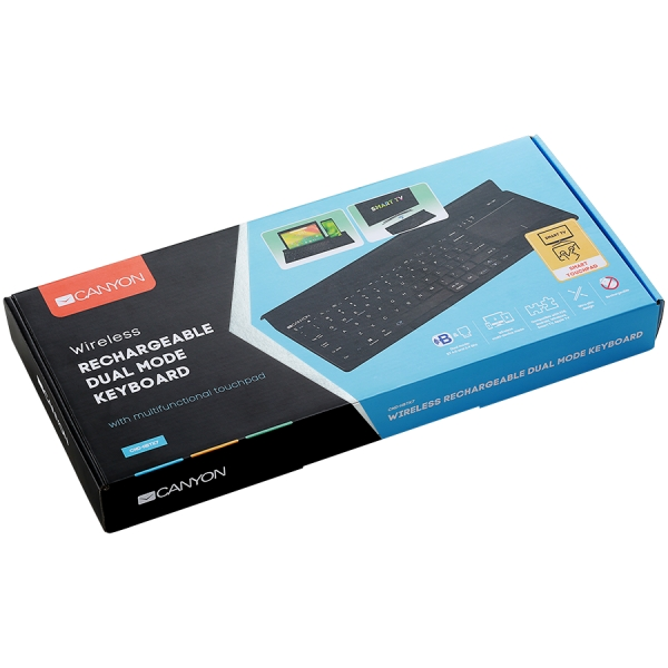 Bluetooth&2.4G wireless keyboard, max. 4 devices can be connected at same time, Bluetooth multi-device mode under Android, iOS, Win8 and Win10 system, touch panel with rubbery hand rest, US layout, Bl 3