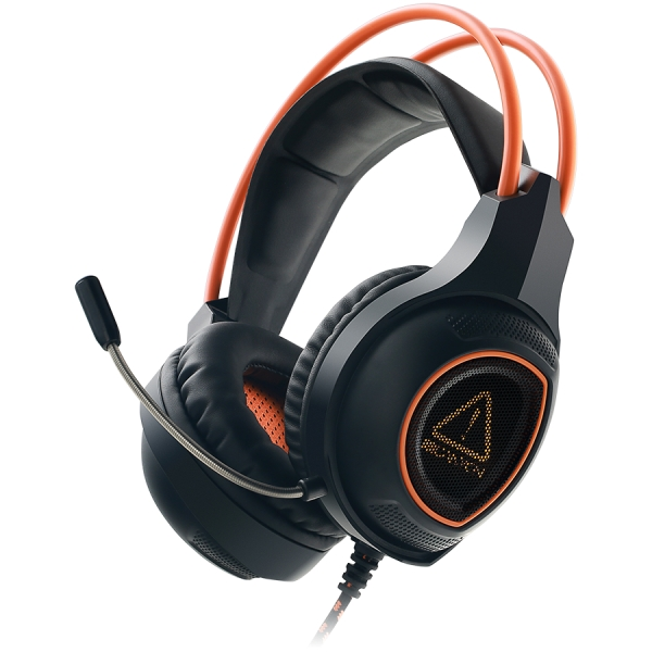 Canyon Gaming headset with 7.1 USB connector, adjustable volume control, orange LED backlight, cable length 2m, Black, 182*90*231mm, 0.336kg 1