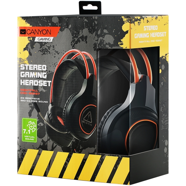 Canyon Gaming headset with 7.1 USB connector, adjustable volume control, orange LED backlight, cable length 2m, Black, 182*90*231mm, 0.336kg 3