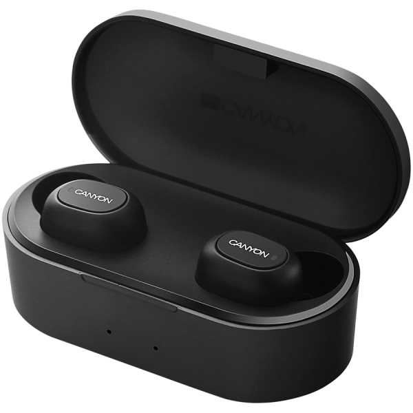 Canyon TWS Bluetooth sport headset, with microphone, BT V5.0, RTL8763BFR, battery EarBud 43mAh*2+Charging Case 800mAh, cable length 0.18m, 78*38*32mm, 0.063kg, Black 1