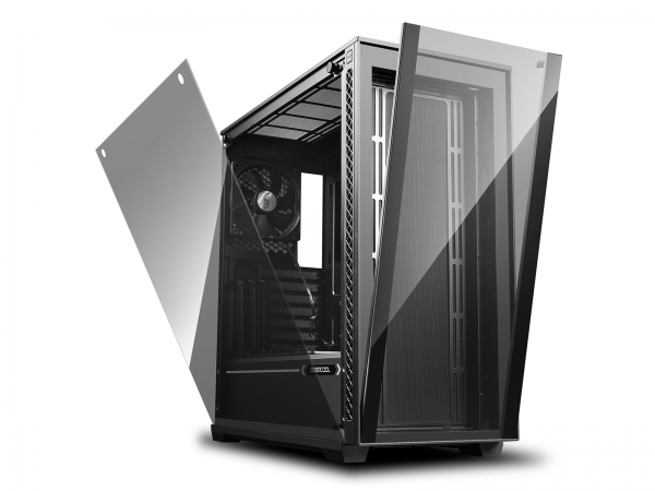 "CARCASA DeepCool Middle-Tower E-ATX, 1x 120mm fans, tempered glass, front audio & 2x USB 3.0, 1x USB 2.0, black ""MATREXX 70"" 1"