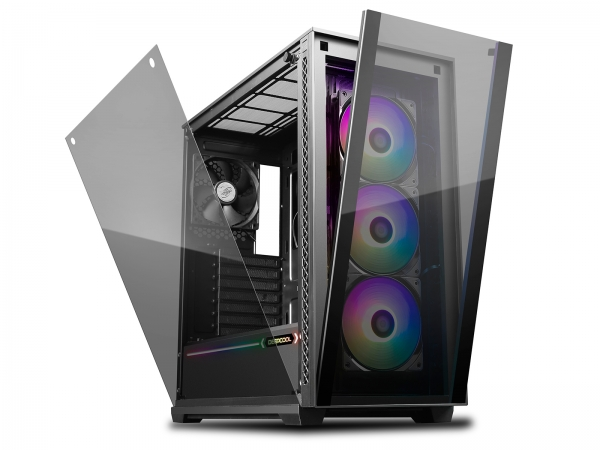 "CARCASA DeepCool Middle-Tower E-ATX,  3x 120mm CF120 fans, header RGB ADD, RGB LED strip, tempered glass, front audio & 2x USB 3.0, 2x USB 2.0, black ""MATREXX 70 ADD-RGB 3F"""