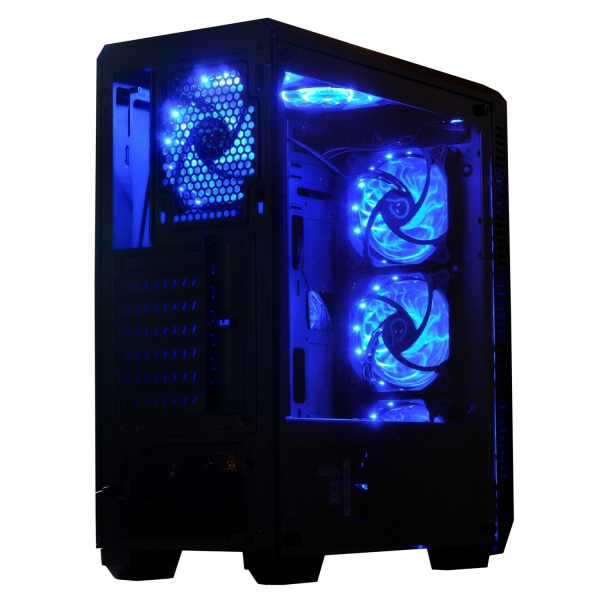 "CARCASA SPACER Middle-Tower ATX, fara sursa, H3x@, side window, 6* 120mm fan instalate, I/O panel, Black ""SP-GC-04"" 1"
