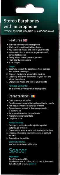 Casca stereo cu microfon EM108