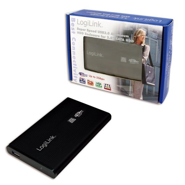 "HDD Enclosure 2.5"" SATA Logilink USB 3.0, aluminiu, Black"
