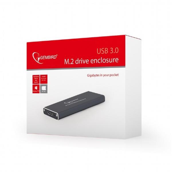 "RACK EXTERN GEMBIRD M.2 SDD to USB 3.0, Aluminiu, black,  ""EE2280-U3C-01"" 2"